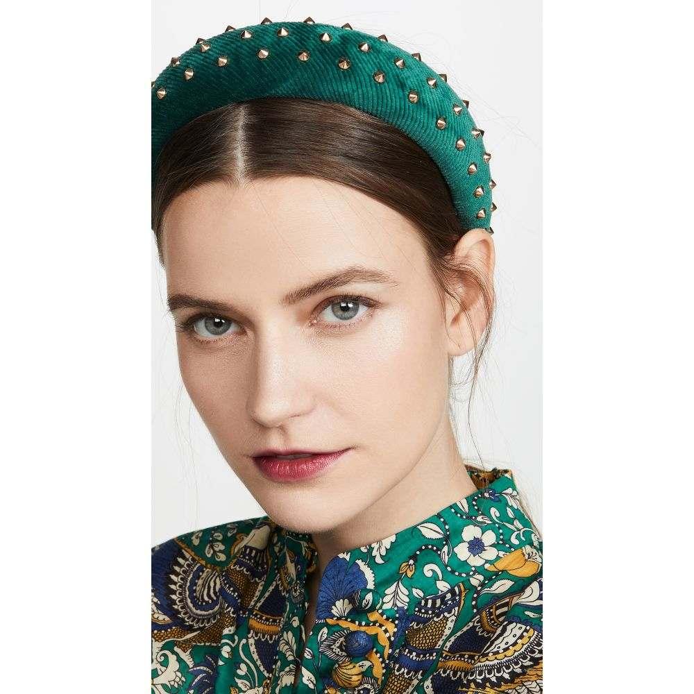 レレ サドイ Lele Sadoughi レディース ヘアアクセサリー ヘッドバンド【Studded Padded Headband】Metallic Emerald