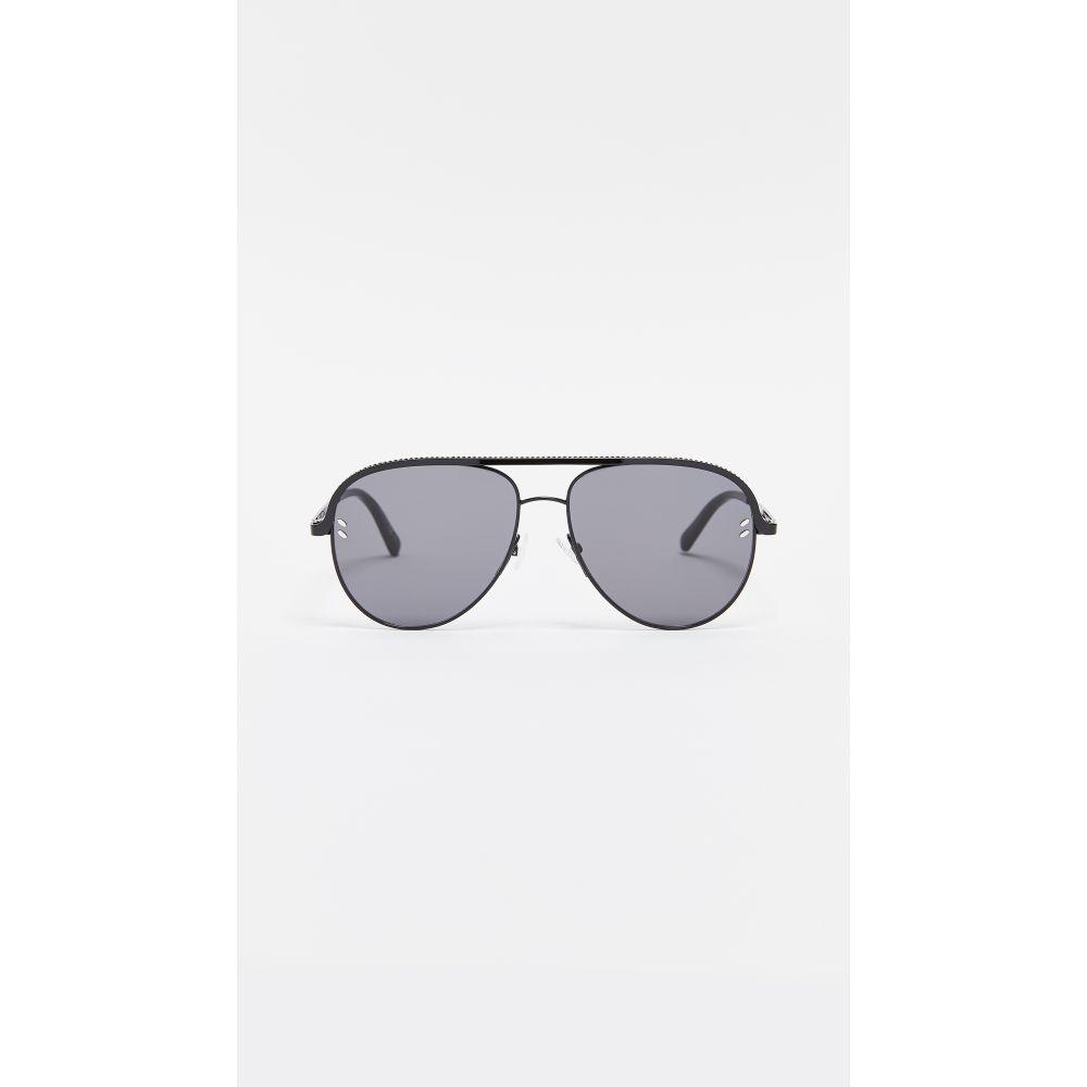 ステラ マッカートニー Stella McCartney レディース メガネ・サングラス 【Double Bridge Pilot Sunglasses】Black/Smoke