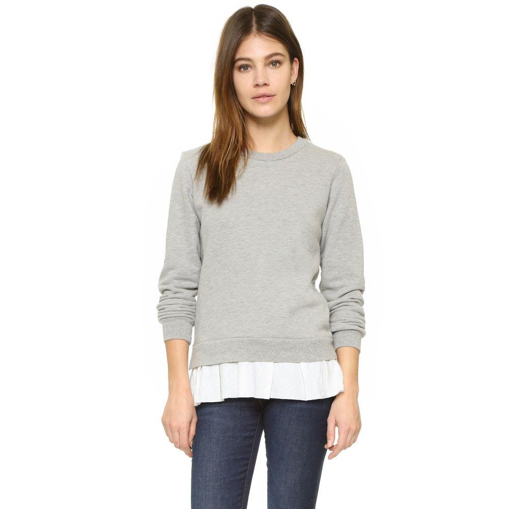 クルー Clu レディース スウェット・トレーナー トップス【Too Ruffled Sweatshirt】Heather Grey/White