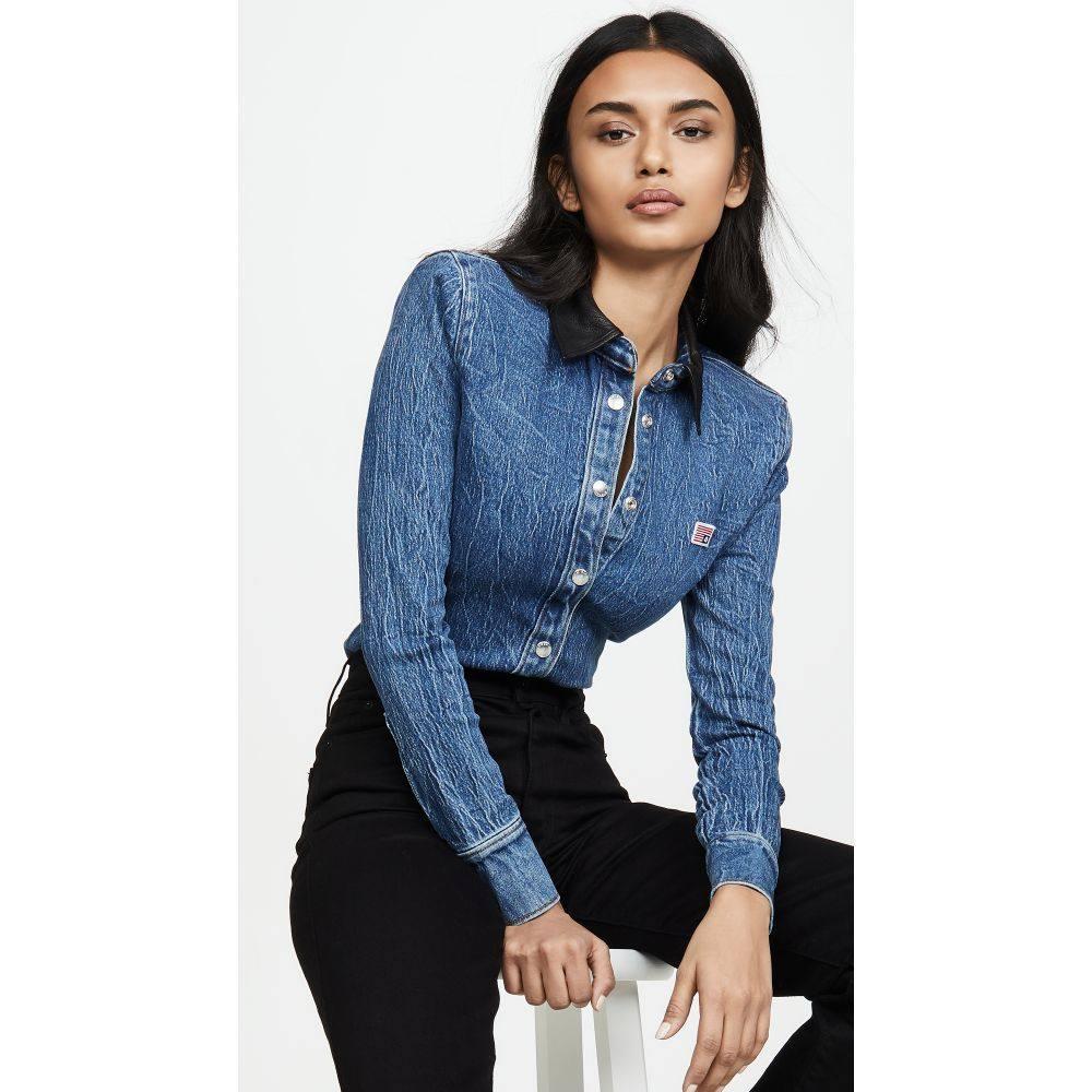 アレキサンダー ワン Alexander Wang レディース ブラウス・シャツ デニム トップス【Denim Button Long Sleeve Shirt with Leather Collar】Deep Blue