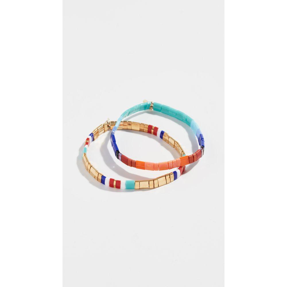 シャシ Shashi レディース ブレスレット ジュエリー・アクセサリー【Tilu Set of 2 Bracelets】Cobalt/Wine/Gold