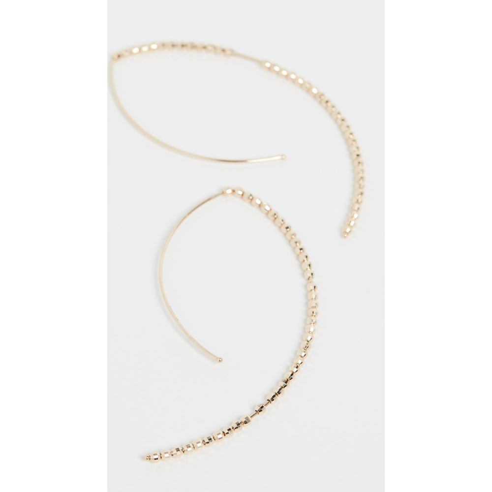 ミズキ Mizuki レディース イヤリング・ピアス ジュエリー・アクセサリー【14k Large Marquis Bead Hoop Earrings】Gold