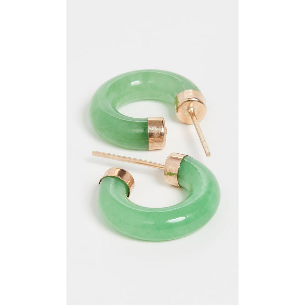 ローレン スチュワート Loren Stewart レディース イヤリング・ピアス ジュエリー・アクセサリー【14k Mini Stone Hoop Earrings】Jade/Gold