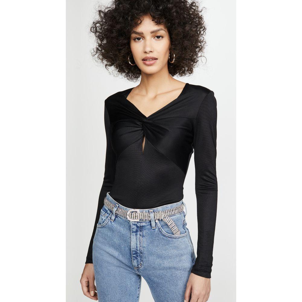 フルール ドゥ マル Fleur du Mal レディース ボディースーツ インナー・下着【Slinky Twist Long Sleeve Thong Bodysuit】Black