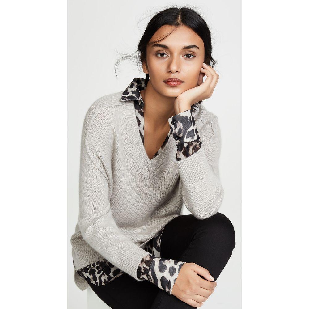 ブロシュウウォーカー Brochu Walker レディース ニット・セーター Vネック トップス【V Neck Layered Sweater】Light Chia Printed