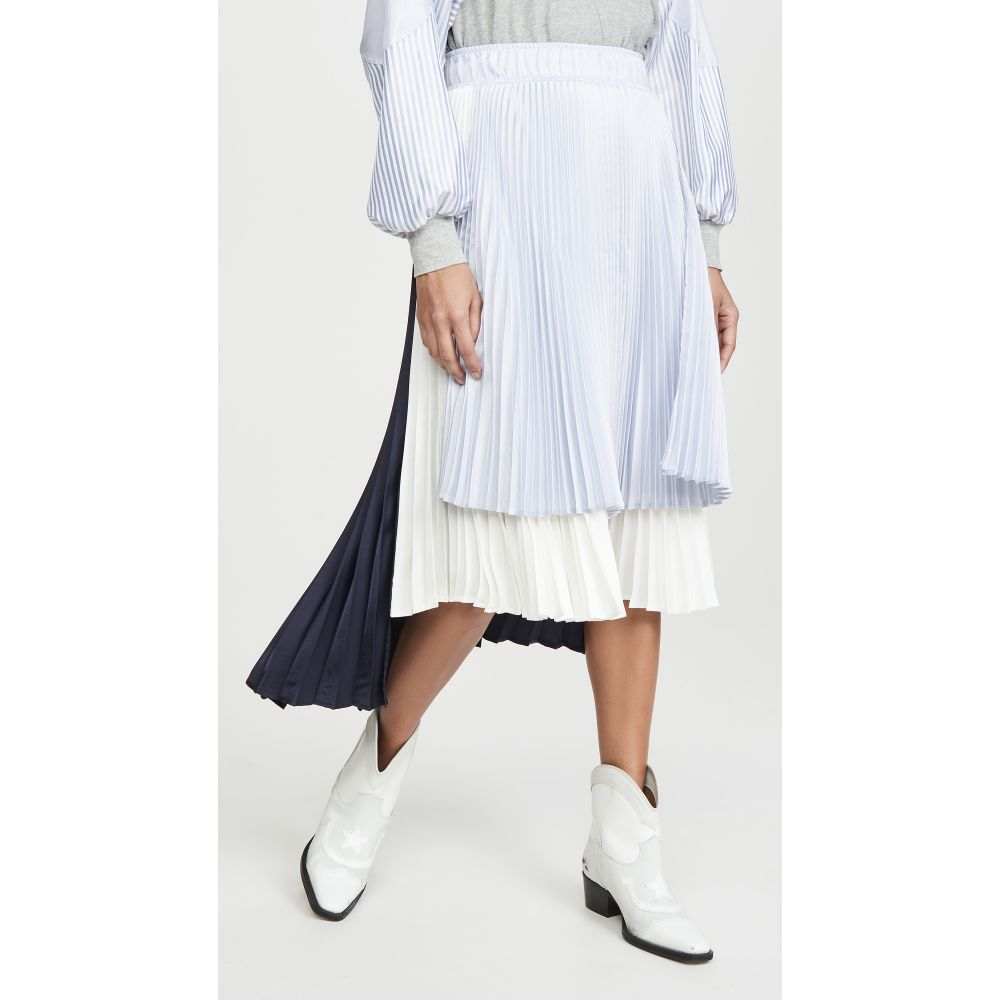 クルー Clu レディース スカート 【Colorblock Pleated Skirt】Navy/White