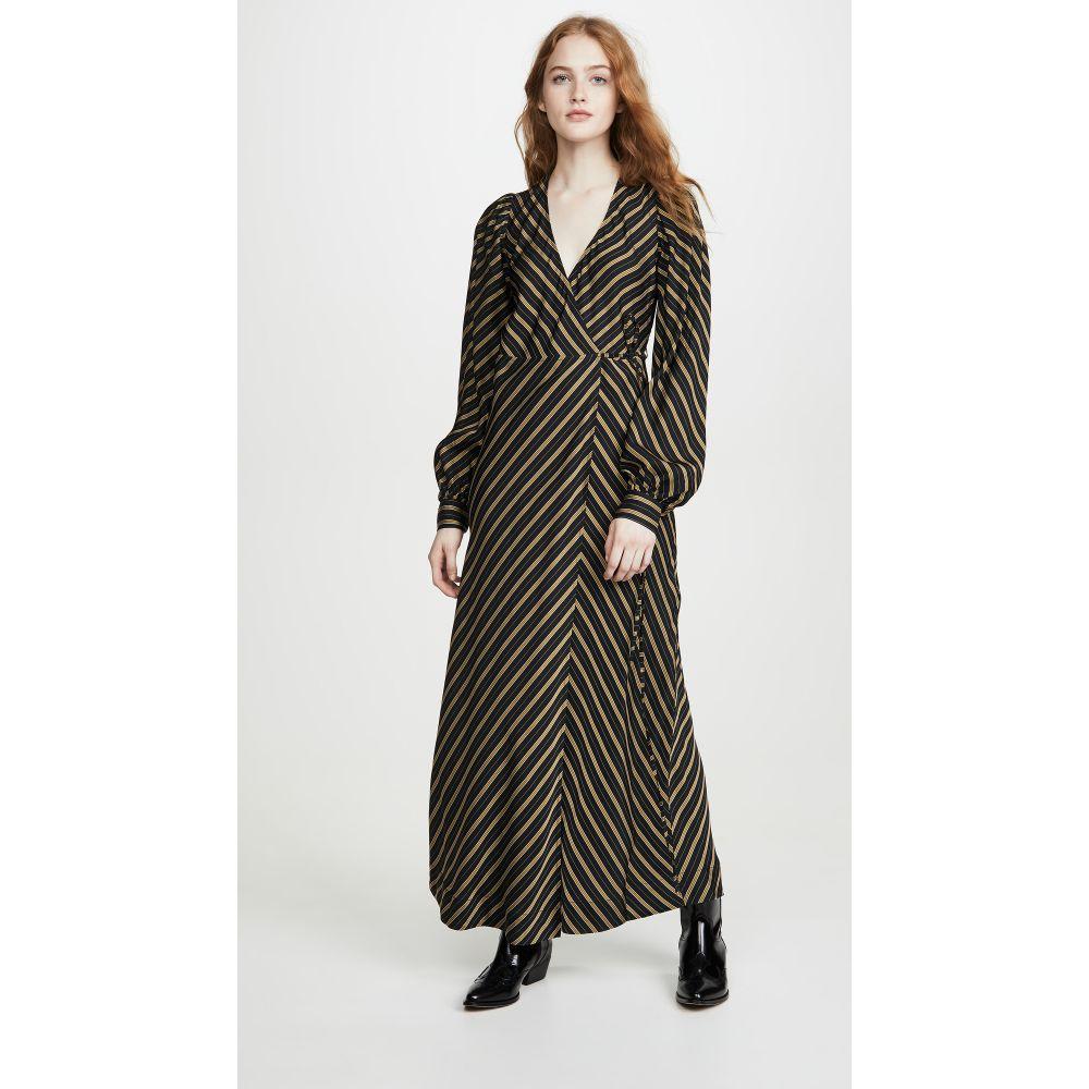 ガニー GANNI レディース ワンピース ワンピース・ドレス【Viscose Stripe Dress】Black