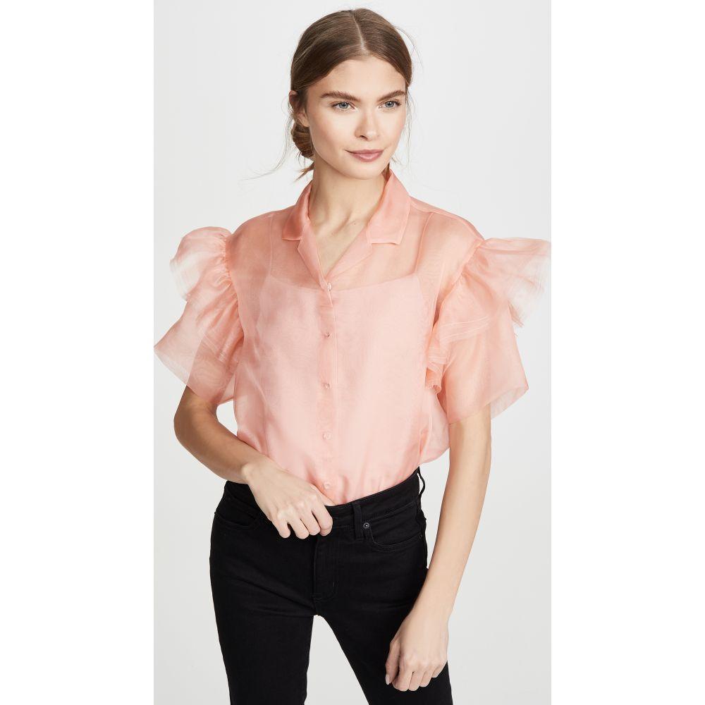 アナイスジョルダン Anais Jourden レディース トップス 【Organza Shirt with Ruffled Short Sleeves】Pink
