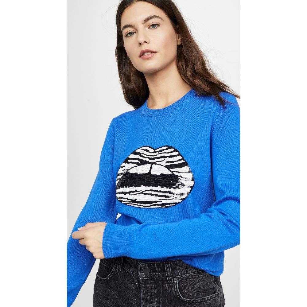 マーカス ルーファー Markus Lupfer レディース ニット・セーター トップス【Mia Zebra Stripe Sequin Lip Sweater】Electric Blue