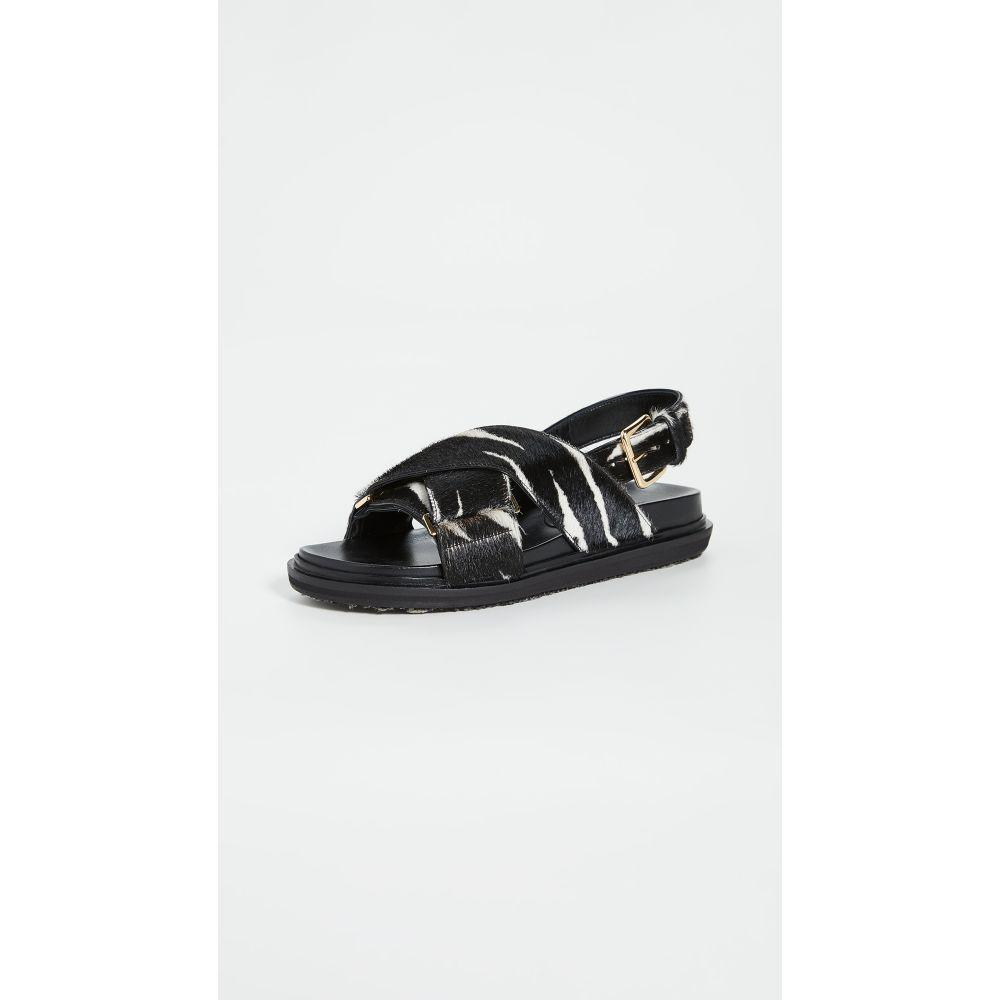 マルニ Marni レディース サンダル・ミュール シューズ・靴【Animal Print Crisscross Sandals】Black/White
