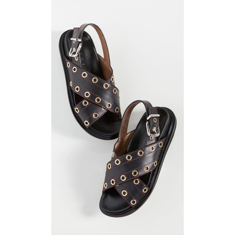 マルニ Marni レディース サンダル・ミュール シューズ・靴【Crisscross Grommet Sandals】Black