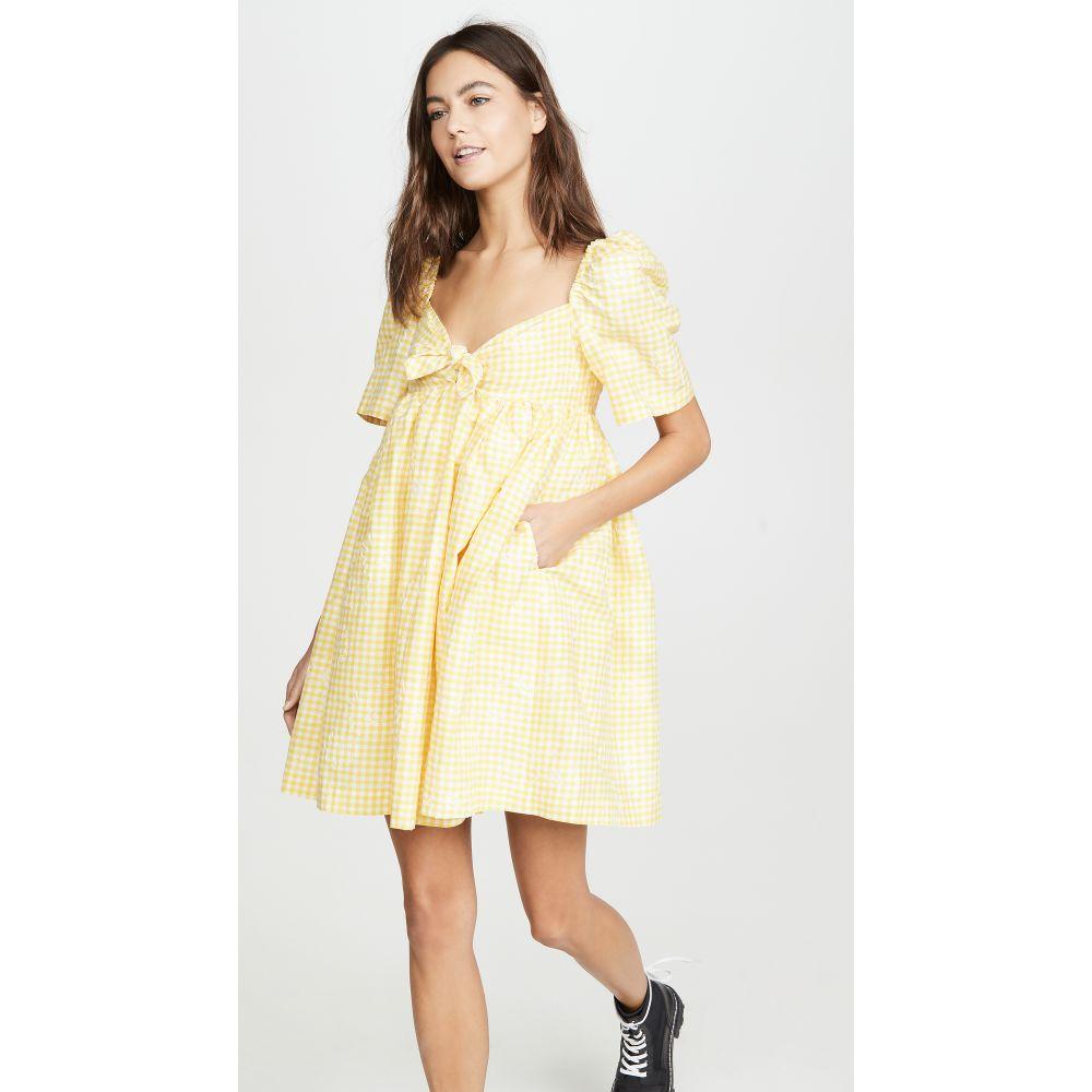 プッシュボタン pushBUTTON レディース ワンピース ミニ丈 ワンピース・ドレス【Puff Mini Dress】Yellow