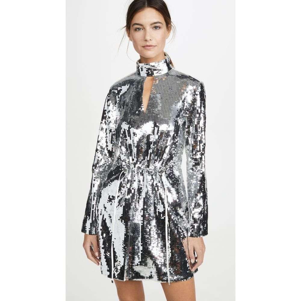 ティビ Tibi レディース ワンピース ワンピース・ドレス【Split Neck Short Dress】Ivory/Silver Multi
