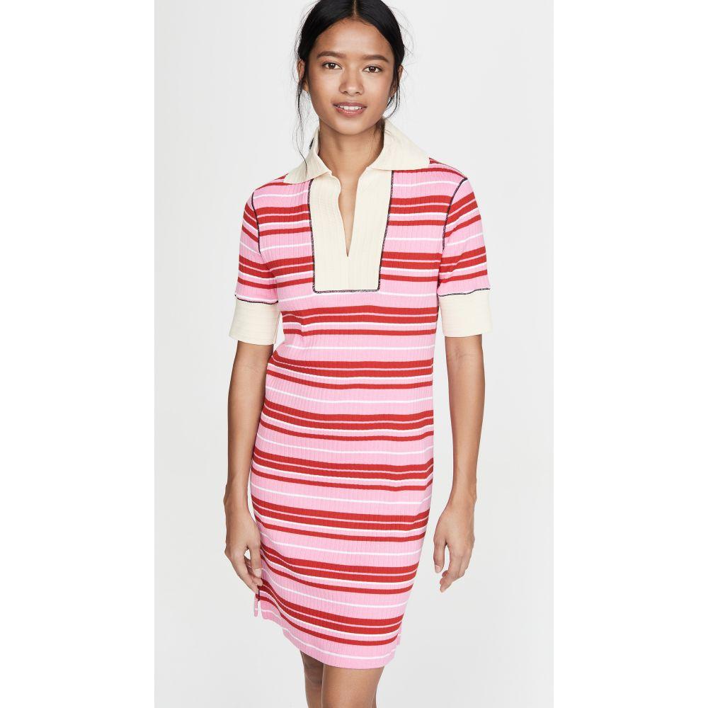 マルニ Marni レディース ワンピース ワンピース・ドレス【Striped Dress with Collar】Pink Candy