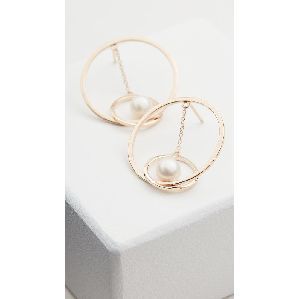 マテオ Mateo レディース イヤリング・ピアス ジュエリー・アクセサリー【14k Gold Suspended Circle Pearl Earrings】Yellow Gold