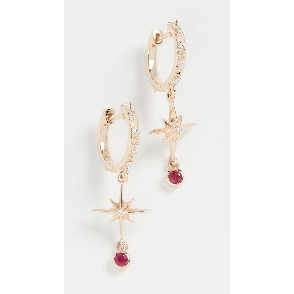マーロ ラズ Marlo Laz レディース イヤリング・ピアス ジュエリー・アクセサリー【14k Lucky Star Hoop Earrings】Yellow Gold/White Diamond/Pink