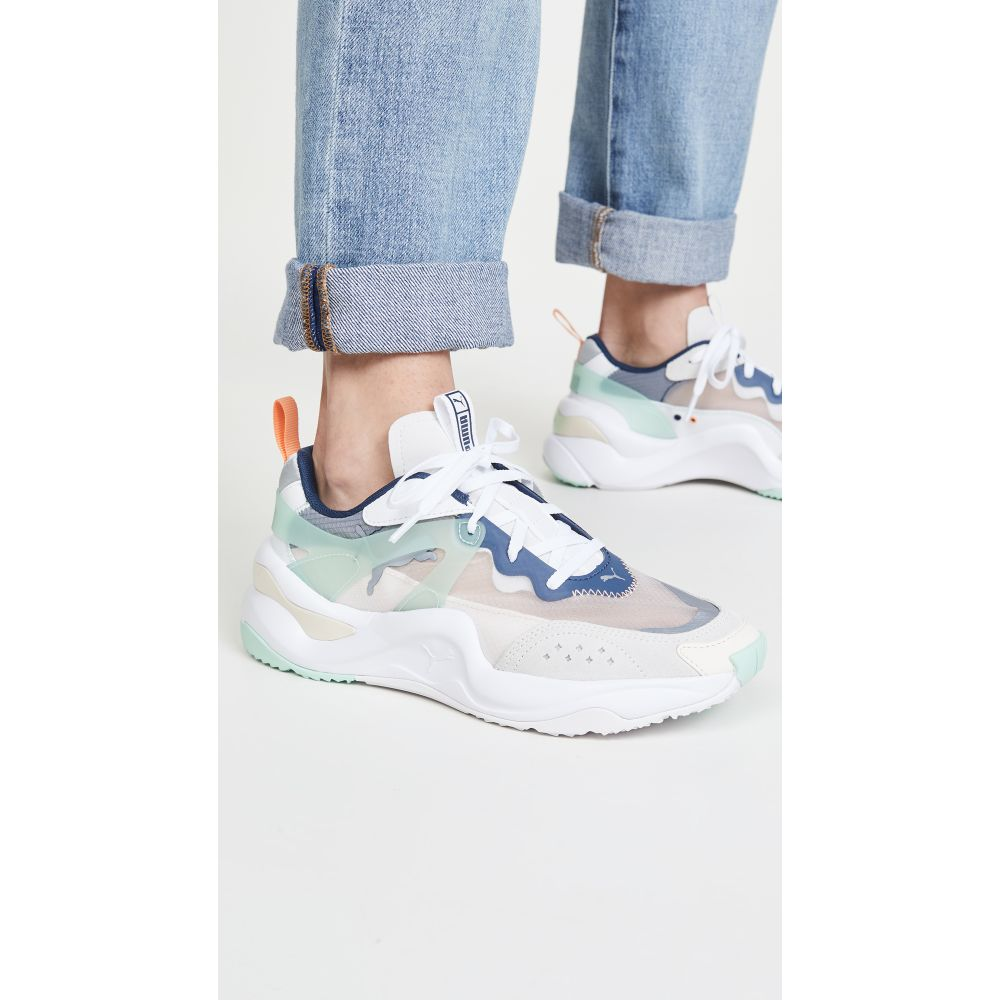 プーマ PUMA レディース スニーカー シューズ・靴【Rise Sneakers】White Mist/Green Cantaloupe