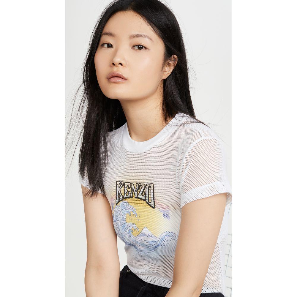 ケンゾー KENZO レディース Tシャツ トップス【Mesh Fitted T-Shirt】White