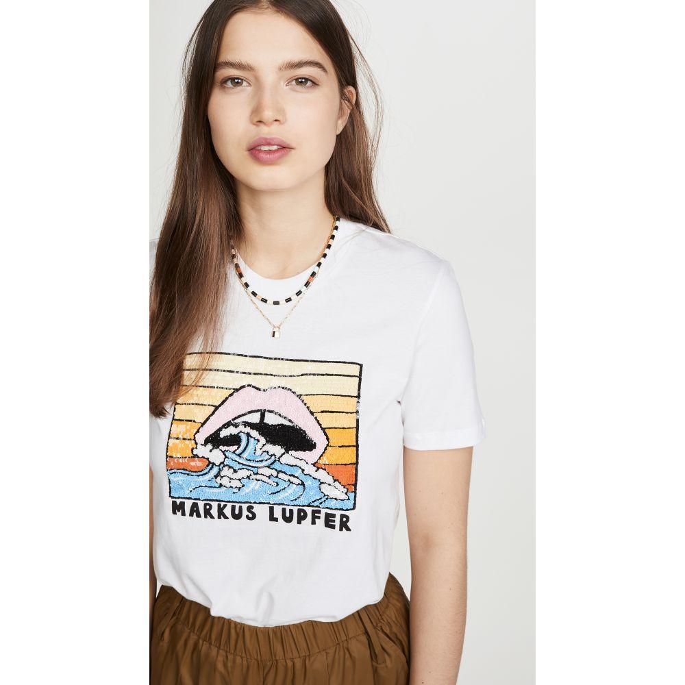 マーカス ルーファー Markus Lupfer レディース Tシャツ トップス【Kate Sequin Wave Sunset Lip Tee】White