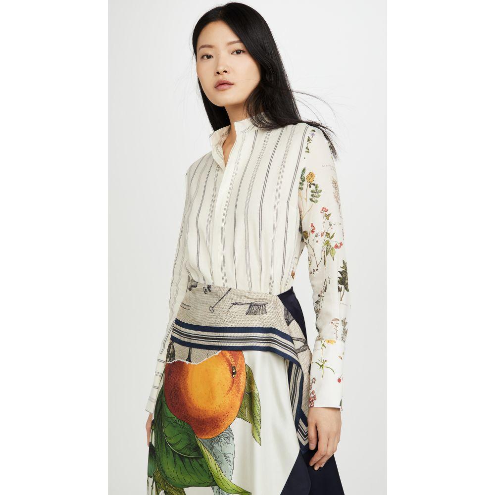 モンス Monse レディース ブラウス・シャツ トップス【Half & Half Botanic And Stripe Shirt】Linen Multi