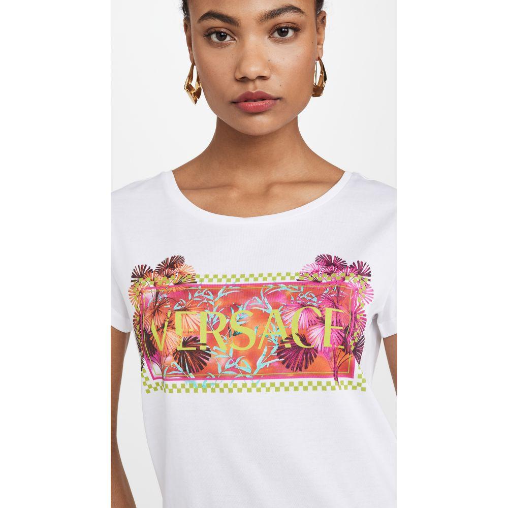 ヴェルサーチ Versace レディース Tシャツ ロゴTシャツ トップス【Logo Palm Print Tee】Bianco Ottico