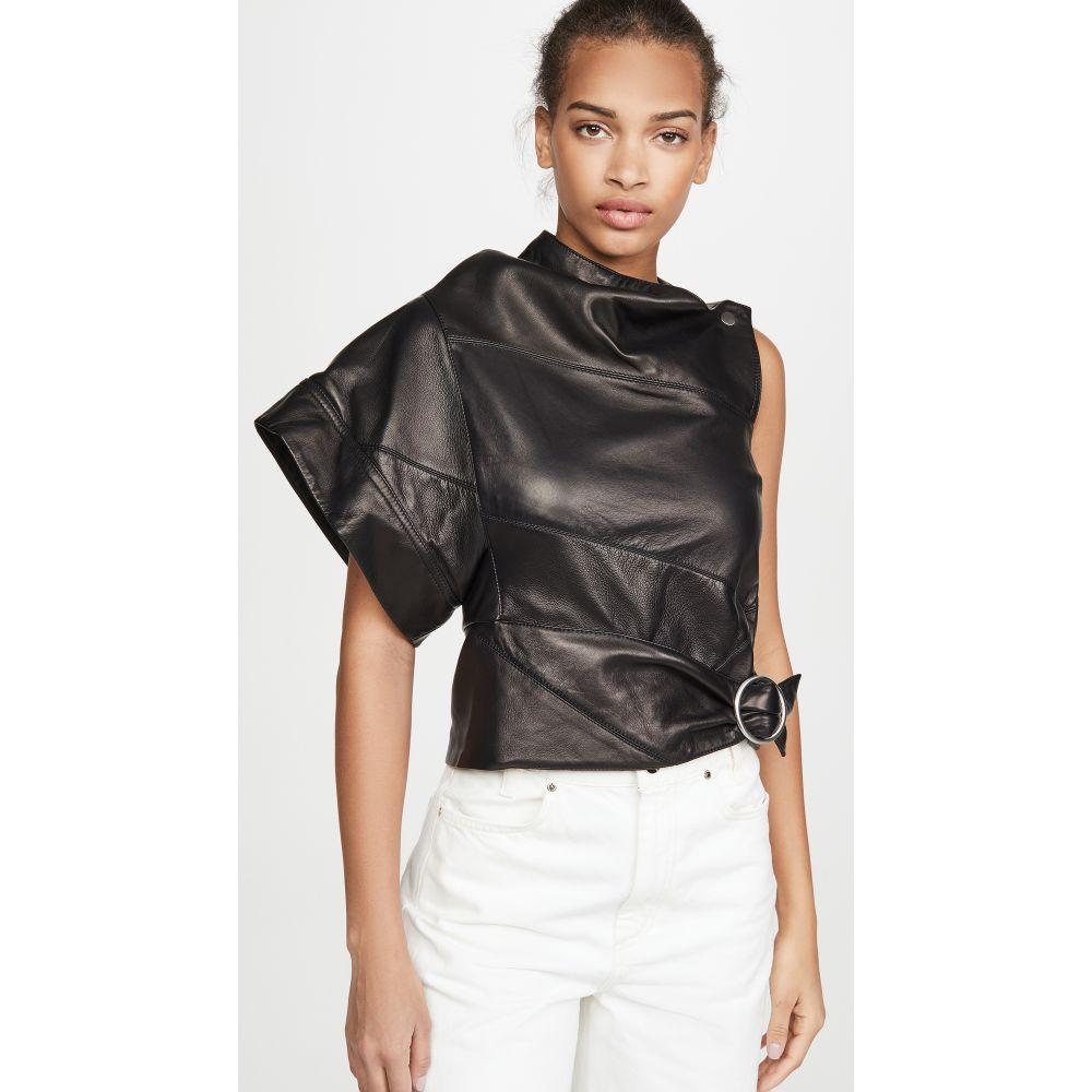 スリーワン フィリップ リム 3.1 Phillip Lim レディース トップス 【Leather Asymmetrical Gathered Ring Top】Black
