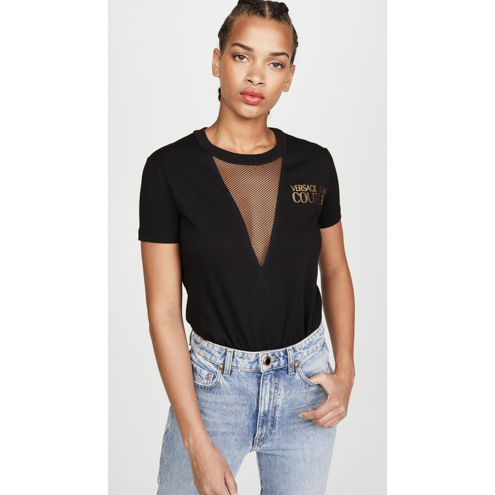 ヴェルサーチ Versace Jeans Couture レディース Tシャツ ロゴTシャツ トップス【Mesh Inset Logo Tee】Nero