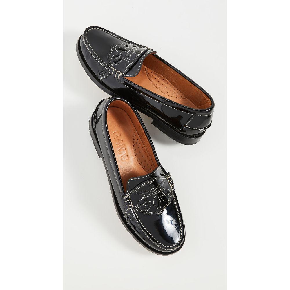 ガニー GANNI レディース スリッポン・フラット モカシン シューズ・靴【Moccasin Flats】Black