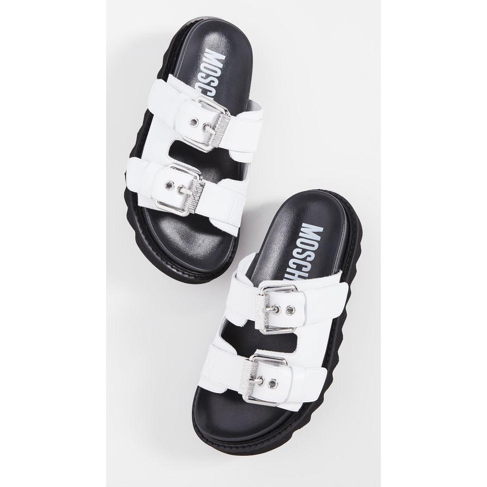 モスキーノ Moschino レディース サンダル・ミュール シューズ・靴【Slide Double Buckle Sandals】White