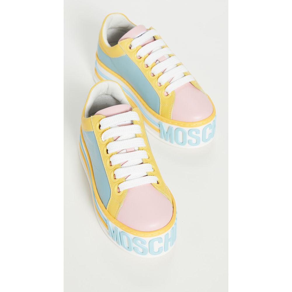モスキーノ Moschino レディース スニーカー シューズ・靴【Platform W Sneakers】Pink/Lt Blue/Yellow