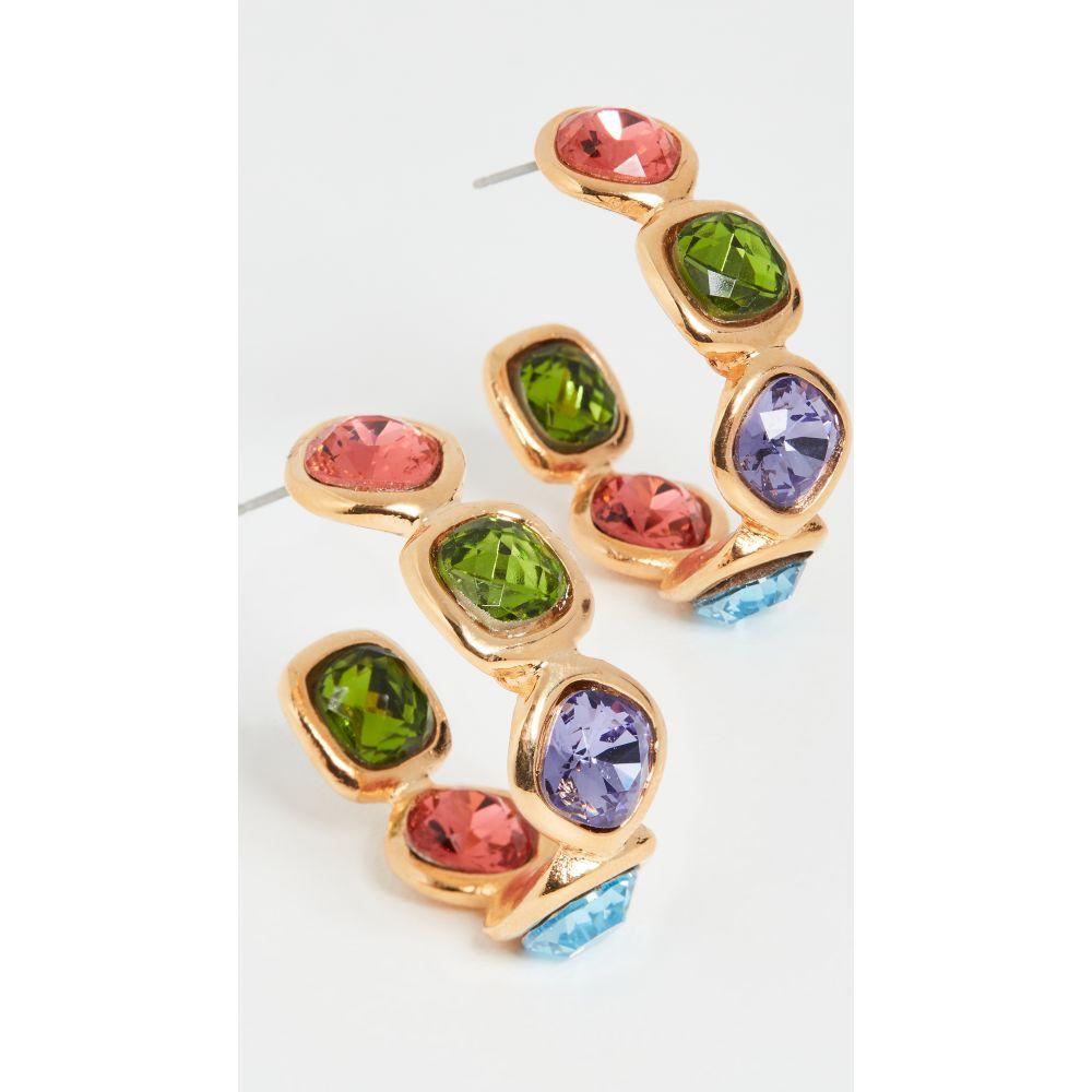 ケネスジェイレーン Kenneth Jay Lane レディース イヤリング・ピアス ジュエリー・アクセサリー【Narrow Gold Hoop Earrings】Multi Pastel