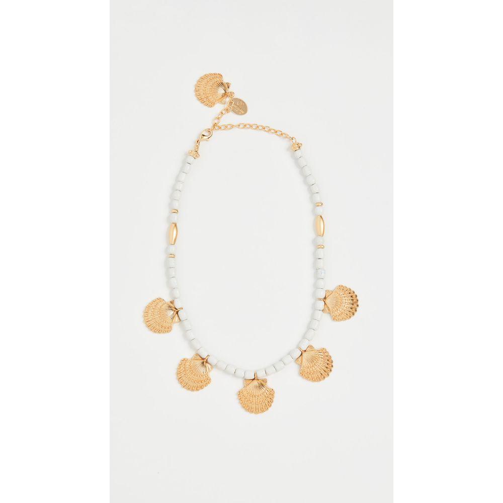 マラリノ Mallarino レディース ネックレス ジュエリー・アクセサリー【White Handmade Ceramic Necklace with Marina Small Charms】Brass Gold