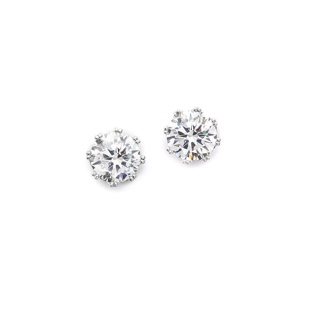 ケネスジェイレーン Kenneth Jay Lane レディース イヤリング・ピアス ジュエリー・アクセサリー【Round CZ Stud Earrings】Clear/Silver