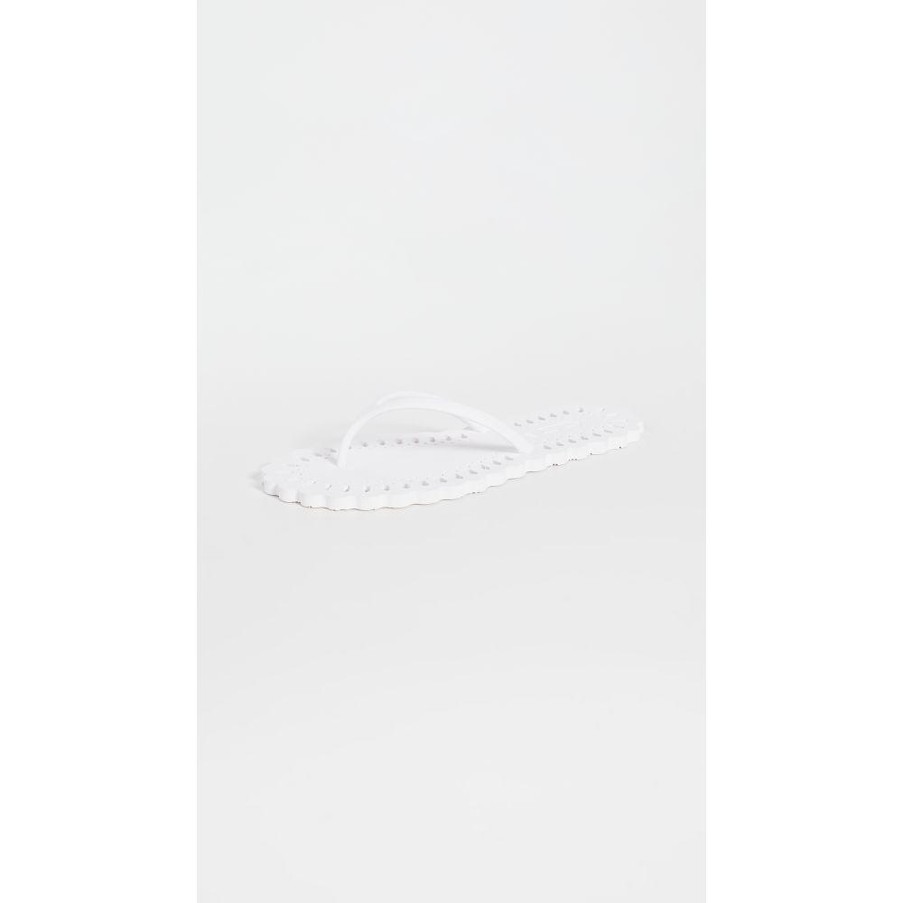 カルロサ レイ Carlotha Ray レディース ビーチサンダル シューズ・靴【Laser Cut Flip Flops】Blanc Barbotine
