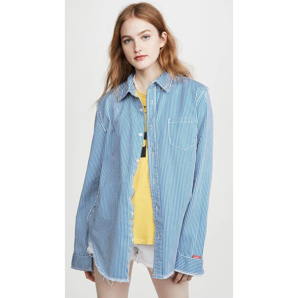 Denimist レディース ブラウス・シャツ トップス【Frayed Edge Shirt】Blue White Stripe