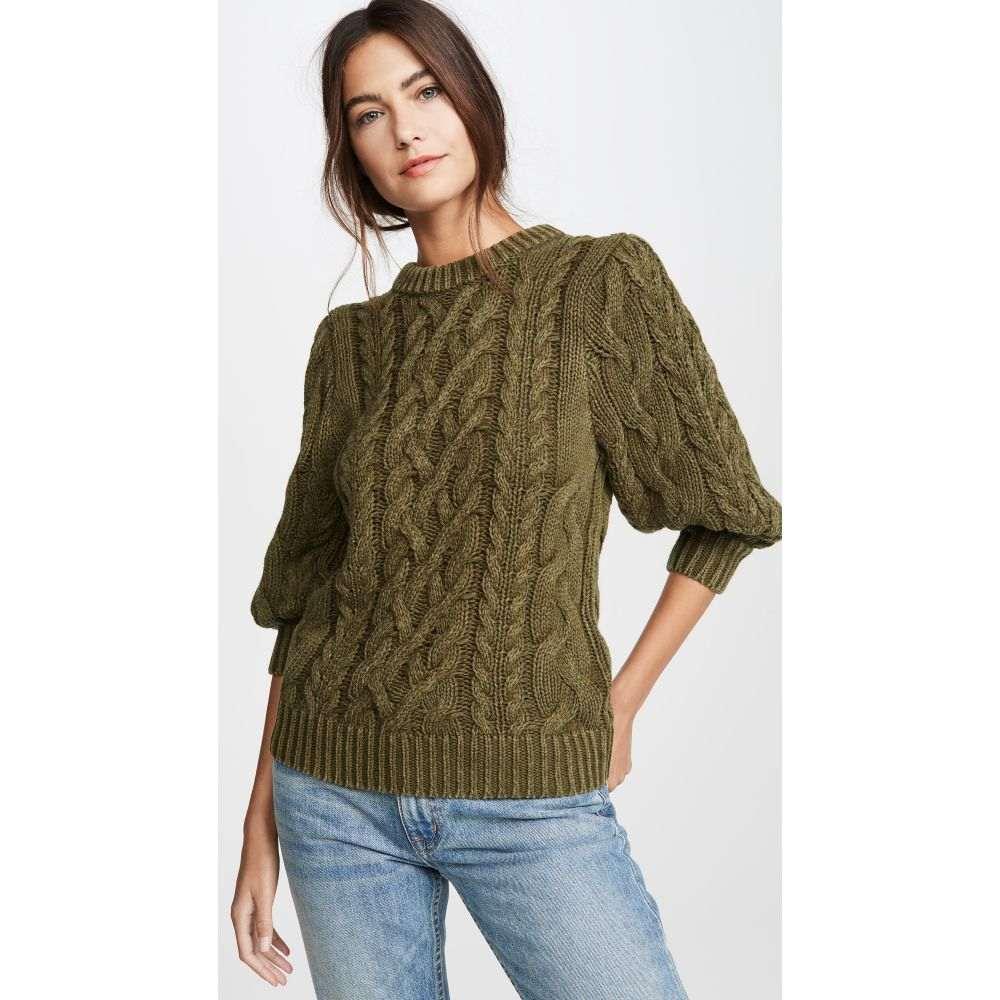 525 レディース ニット・セーター トップス【Puff Sleeve Sweater】Olive Green Melange