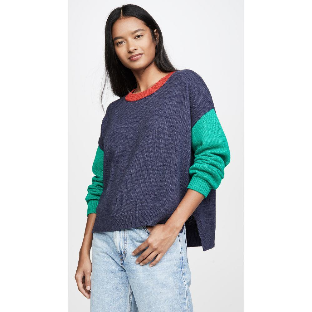 525 レディース ニット・セーター トップス【Colorblock Crew Sweater】Dark Denim Melange Multi