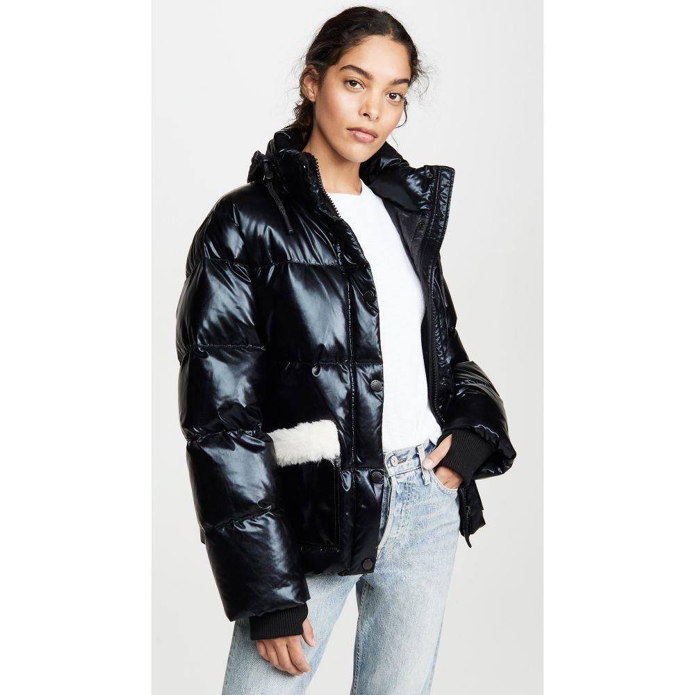 ジョセリン Jocelyn レディース ダウン・中綿ジャケット アウター【Patent Faux Sherpa Puffer Jacket】Black