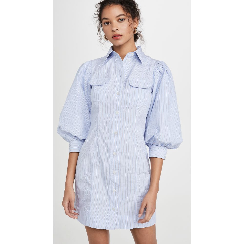 ガニー GANNI レディース ワンピース ワンピース・ドレス【Stripe Cotton Dress】Brunnera Blue