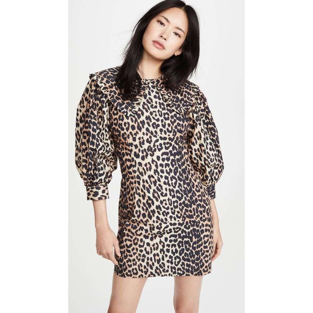 ガニー GANNI レディース ワンピース ワンピース・ドレス【Printed Cotton Poplin Dress】Leopard
