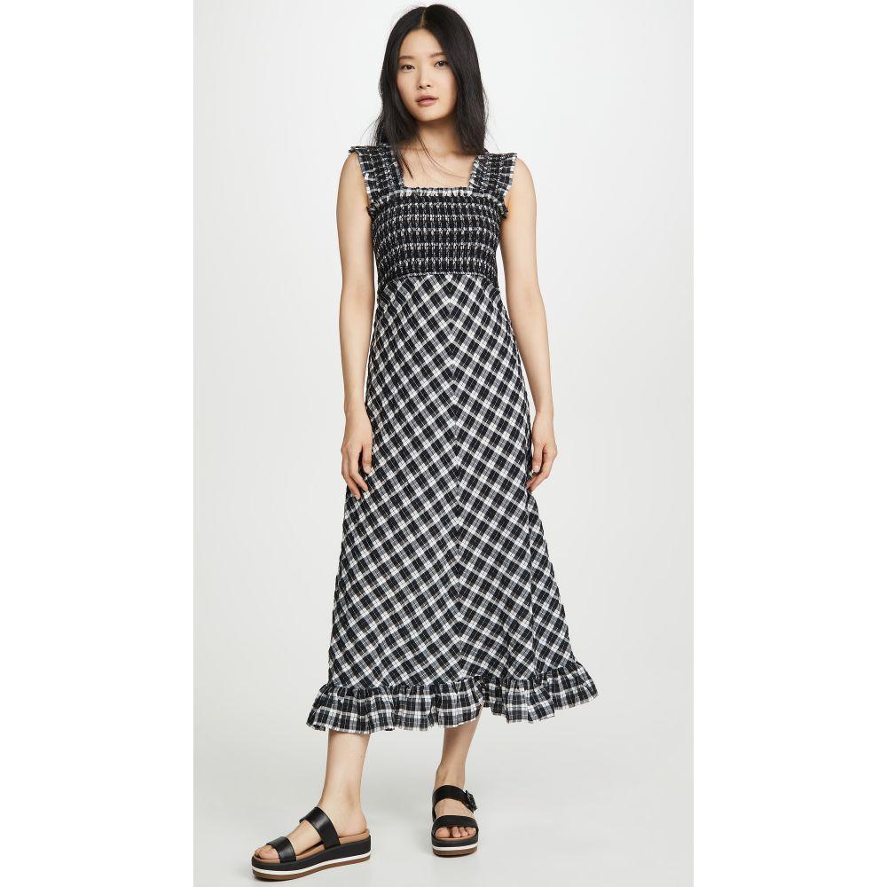 ガニー GANNI レディース ワンピース ワンピース・ドレス【Seersucker Check Dress】Black