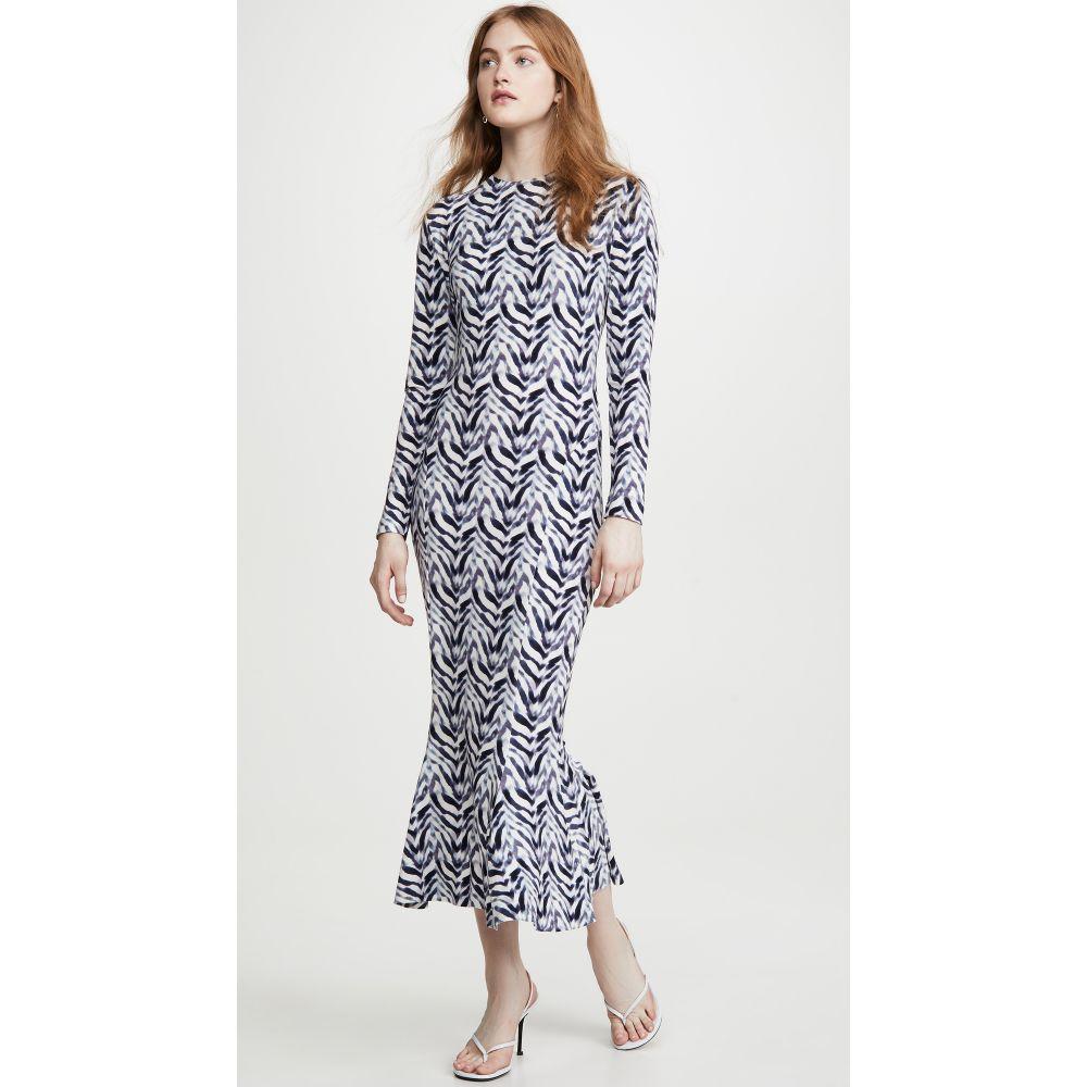 ノーマ カマリ Norma Kamali レディース ワンピース ワンピース・ドレス【Long Sleeve Fishtail Dress】Chevron Zebra