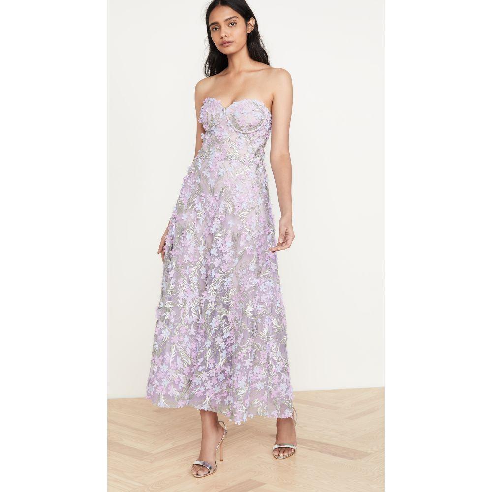 ノッテ バイ マルケッサ Marchesa Notte レディース パーティードレス ワンピース・ドレス【3D Embroidered Strapless Tea Length Gown】Lilac