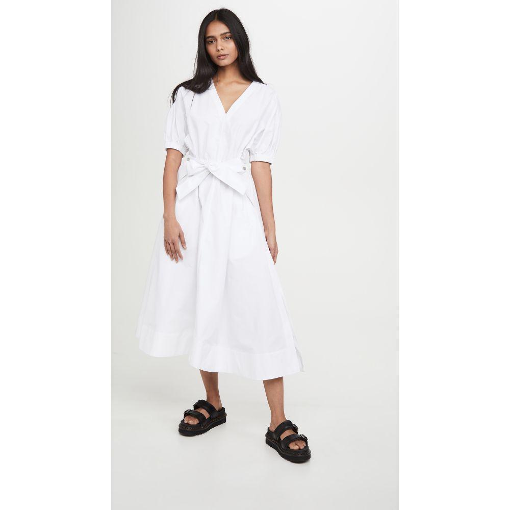 スリーワン フィリップ リム 3.1 Phillip Lim レディース ワンピース ワンピース・ドレス【Utility Belted Dress with Gathered Sleeves】White