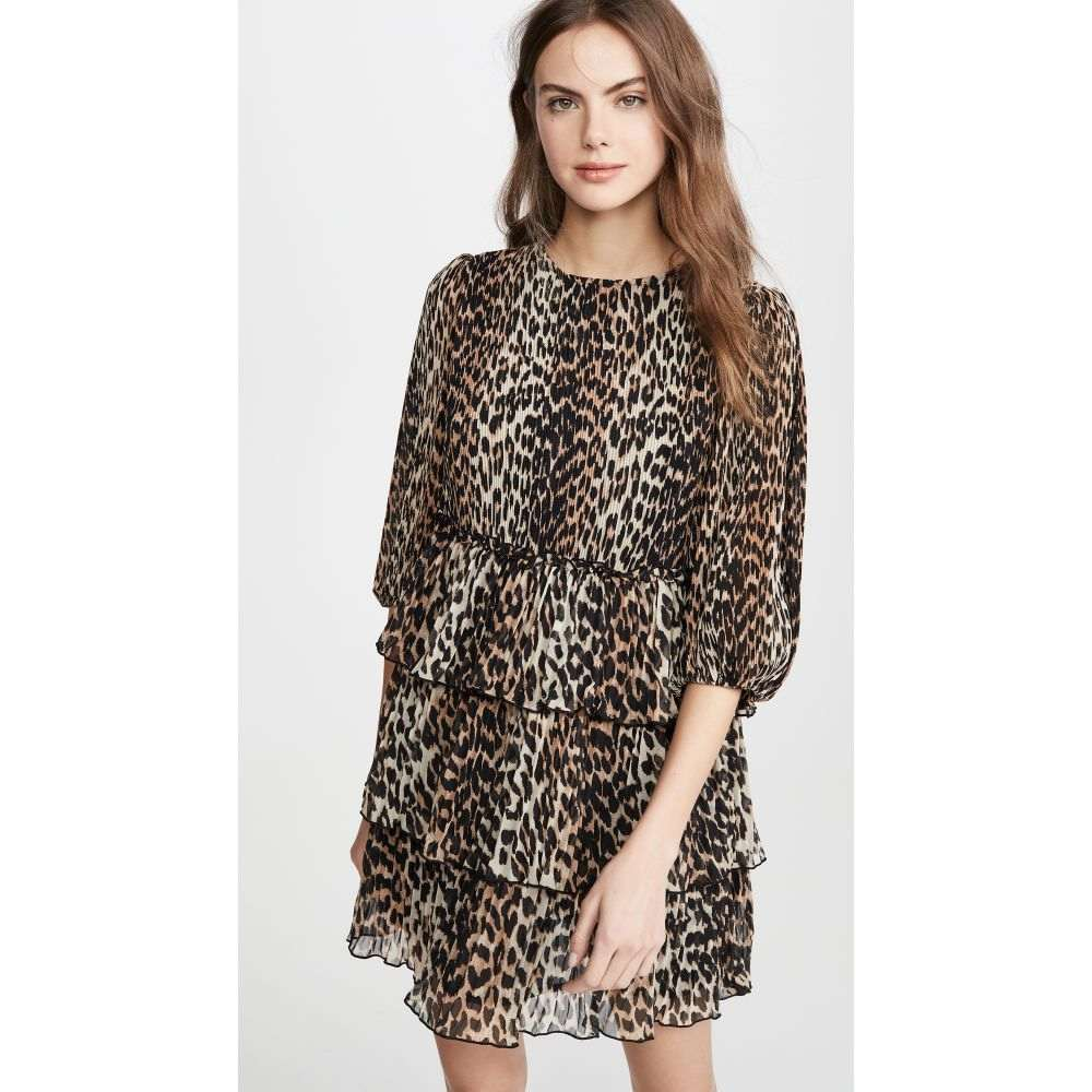 ガニー GANNI レディース ワンピース ワンピース・ドレス【Pleated Georgette Dress】Leopard