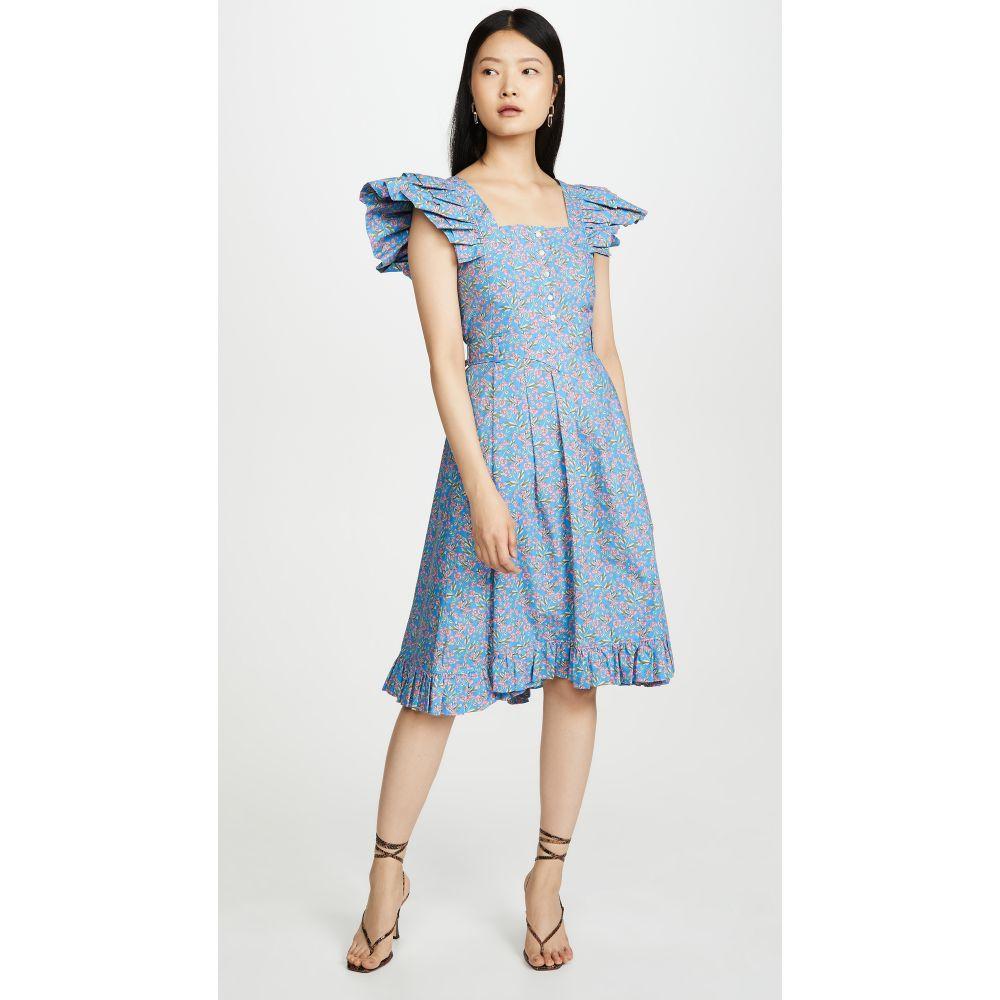 パコラバンヌ Paco Rabanne レディース ワンピース ワンピース・ドレス【Ruffle Shoulder Dress】Blue