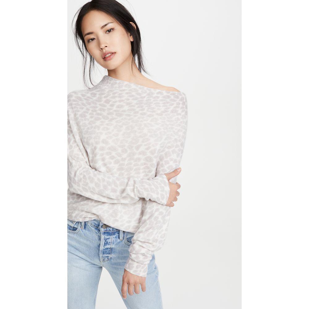 ブロシュウウォーカー Brochu Walker レディース オフショルダー トップス【Lori Luxe Off Shoulder Cashmere Sweater】Feather Grey