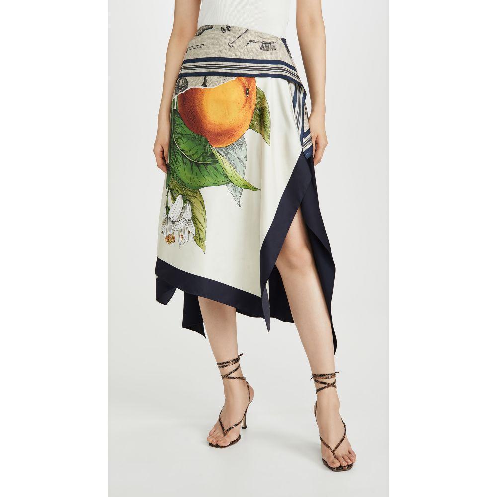モンス Monse レディース スカート 【Grove And Toolbox Asymmetric Silk Scarf Skirt】Burlap/Midnight