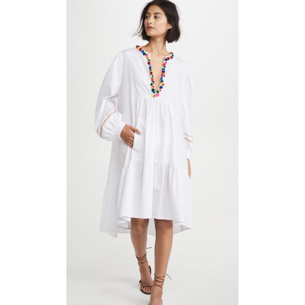 ピトゥサ Pitusa レディース ビーチウェア Vネック ワンピース・ドレス 水着・ビーチウェア【Pom Pom V Neck Dress】White