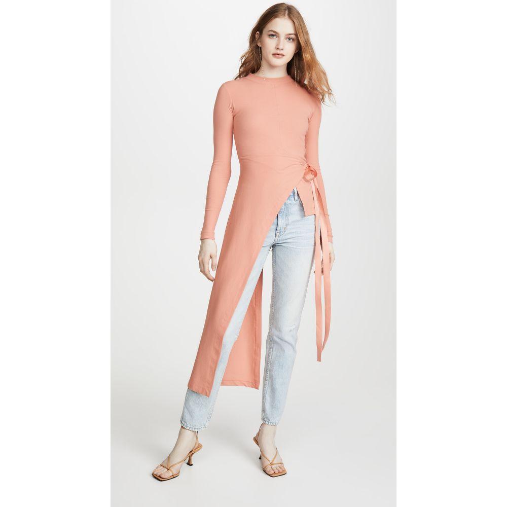 ロゼッタゲティー Rosetta Getty レディース 長袖Tシャツ トップス【Long Sleeve Apron Wrap T-Shirt】Coral